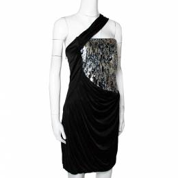 Roberto Cavalli Black Knit Sequined & Draped One Shoulder Dress M 295762