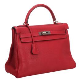Hermes Red Clemence Leather Kelly Retourne 32 Bag 290178