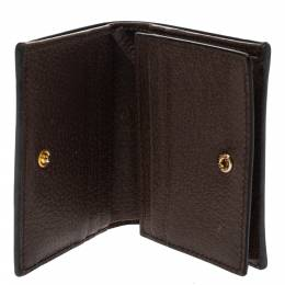 Gucci Brown GG Supreme Canvas and Leather Web Ophidia Card Case Wallet 295852