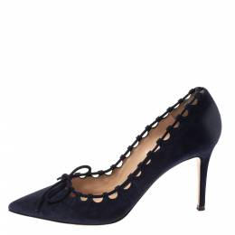 Gianvito Rossi Blue Suede Lace Bow Pumps Size 39 362808
