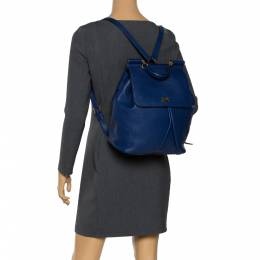 Dolce&Gabbana Blue Leather Miss Sicily Backpack 295781