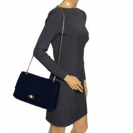 Chanel Navy Blue Quilted Jersey Reissue 2.55 Classic 227 Flap Bag 296224
