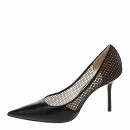 Jimmy Choo Black Mesh and Leather Love Pointed Toe Pumps Size 38.5 296002