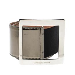 Dolce&Gabbana Gunmetal Laminated Leather Elastic Wide Waist Belt 90CM 296236