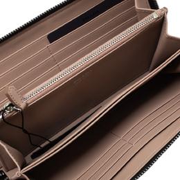 Prada Black Saffiano Leather Zip Around Wallet 296242
