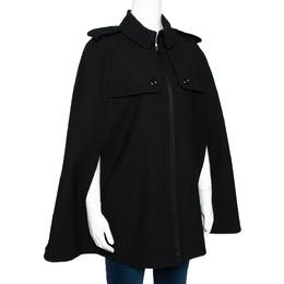 Burberry Black Wool Blend Cape Coat M 295961