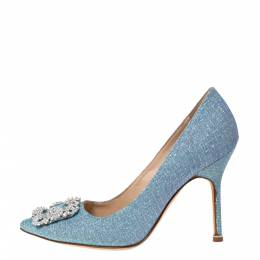 Manolo Blahnik Blue Holographic Glitter Fabric Hangisi Crystal Embellished Pumps Size 37.5 296285