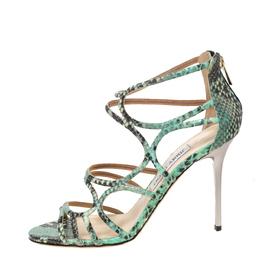 Jimmy Choo Green/Black Snake Embossed Leather Sutri Sandals Size 38.5 296288