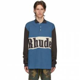 Rhude Blue Logo Rugby Long Sleeve Polo RHU06PS20037