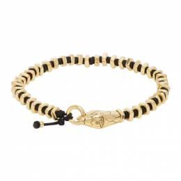 Vivienne Westwood Black and Gold Man. Avalon Beaded Bracelet 61030048-R251