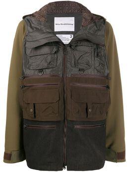 White Mountaineering пальто в стиле колор-блок с капюшоном WM2071201