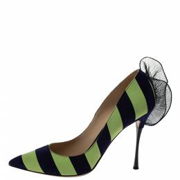 Nicholas Kirkwood Blue/Green Stripe Suede and Leather Ruffle Back Pointed Toe Pumps Size 41 295861