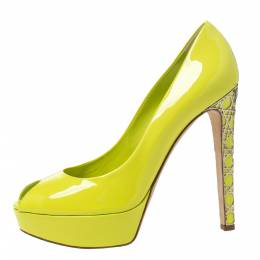 Christian Dior Neon Green Patent Leather Cannage Heel Peep Toe Platform Pumps Size 40 295829