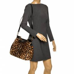Dolce&Gabbana Brown/Black Leopard Print Calfhair and Leather Large Miss Sicily Top Handle Bag 296160