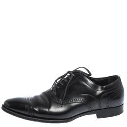 Dolce&Gabbana Black Brogue Leather Lace Up Oxfords Size 40.5 296428