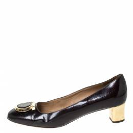 Salvatore Ferragamo Black Patent Leather Fele Gancio Pumps Size 40 296392