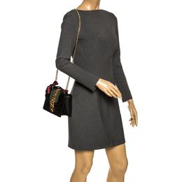 Gucci Black Leather Mini Web Chain Sylvie Shoulder Bag 296177