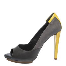 Balenciaga Grey/Yellow Canvas and Leather Peep Toe Pumps Size 38 296413