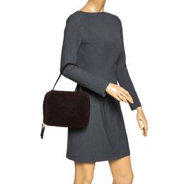 Chanel Dark Brown Suede Vintage CC Timeless Vanity Bag 296403