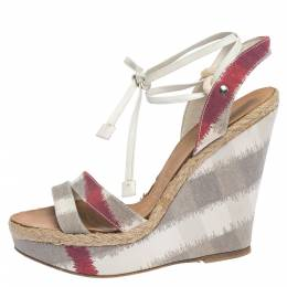 Burberry Multicolor Canvas and White Leather Ankle Wrap Platform Wedge Sandals Size 38 296404