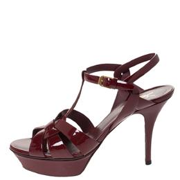 Saint Laurent Red Patent Leather Tribute Platform Sandals Size 39 296351