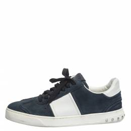 Valentino Blue/White Suede and Leather Flycrew Lace Up Sneakers Size 41 296350