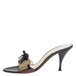 Saint Laurent Multicolor Snakeskin Bow Slide Sandals Size 40.5 296504