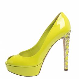 Dior Neon Green Patent Leather Cannage Heel Peep Toe Platform Pumps Size 38 296508