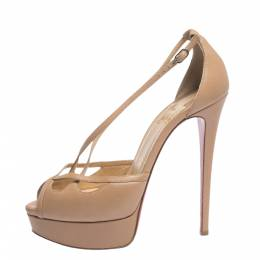 Christian Louboutin Beige Leather Strappy Platform Sandals Size 38.5 296323