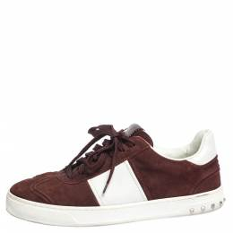 Valentino Burgundy/White Suede and Leather Flycrew Sneakers Size 42 296321