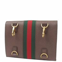 Gucci Brown Web Totem Leather Clutch Bag 293967