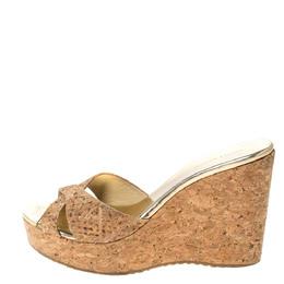 Jimmy Choo Beige Cork Snakeskin Pandora Cork Wedge Platform Sandals Size 38.5 296334