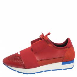 Balenciaga Red Leather And Mesh Race Runners Sneakers Size 39 296337