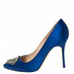 Manolo Blahnik Blue Satin Okkato Crystal Embellished Pumps Size 39.5 296528