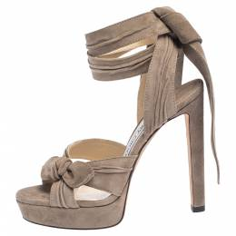 Jimmy Choo Brown Pleated Suede Ankle Wrap Platform Sandals Size 36.5 296300