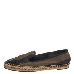 Fendi Brown Peqiun Striped Canvas and Blue Leather Cap Toe Espadrilles Size 40 296309