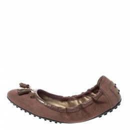 Tod's Old Rose Suede And Patent Trim Tassel Ballet Flats Size 38 Tod's 296016
