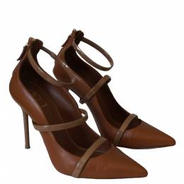 Malone Souliers Brown Leather Robyn Ankle Strap Pumps Size 38 295921