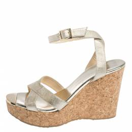 Jimmy Choo Gold Lame Fabric Papyrus Cork Wedge Ankle Strap Sandals Size 39 296316