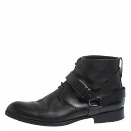 Dior Black Leather Buckle Detail Ankle Boots Size 40.5 296499
