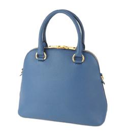 Prada Blue Leather Vittelo Daino Satchel Bag 293970