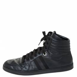 Gucci Black Leather Viaggio Web Detail High Top Sneakers Size 45 294410
