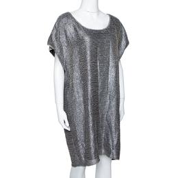 Diane Von Furstenberg Metallic Grey Bead Embellished Silk New Sol Two Bugle Mini Dress L 294321