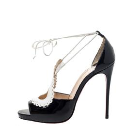 Christian Louboutin Black/White Patent Leather Operissima Sandals Size 36.5 295819