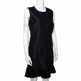 MCQ by Alexander McQueen Navy Blue Jacquard Pleated Mini Dress M 296284