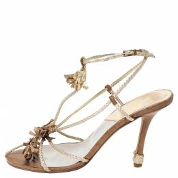 Dior Metallic Gold Woven Leather Strappy Ankle Strap Sandals Size 37 296346