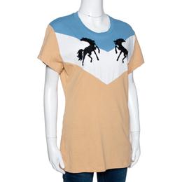 Off-White Tricolor Cotton Twisting Horses T Shirt L 296136