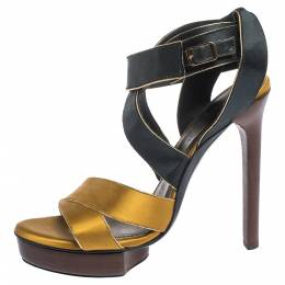 Lanvin Yellow/Black Satin Platform Sandals Size 38.5 296343