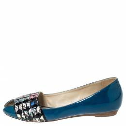 Etro Blue Patent And Multicolor Embossed Python Trim Ballet Flats Size 37 296444