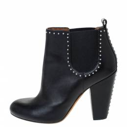 Givenchy Black Studded Leather Round Toe Ankle Boots Size 39 296448